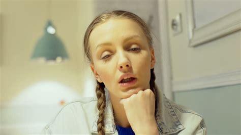 girl singing in bathroom gorgeous blonde girl having fun in a bathroom singing hit