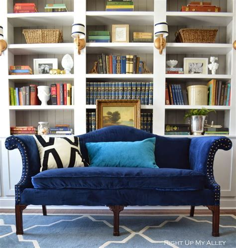 Appealing Navy Blue Velvet Camel Sofa with Enchanting