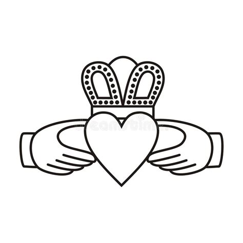 heart crown coloring page claddagh irish love symbol stock vector illustration of