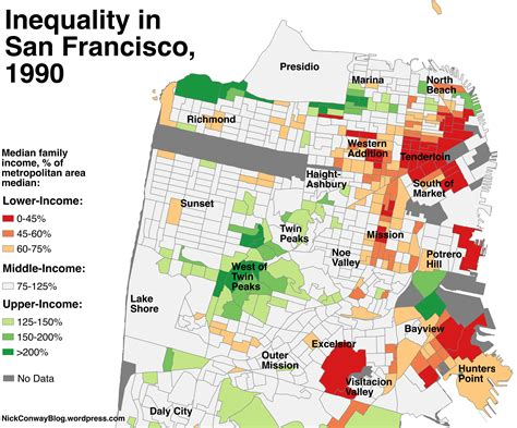 san francisco map neighborhood a map of which sf neighborhoods became richer since 1990
