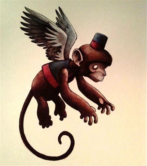 flying monkey watercolor by legumebean on deviantart