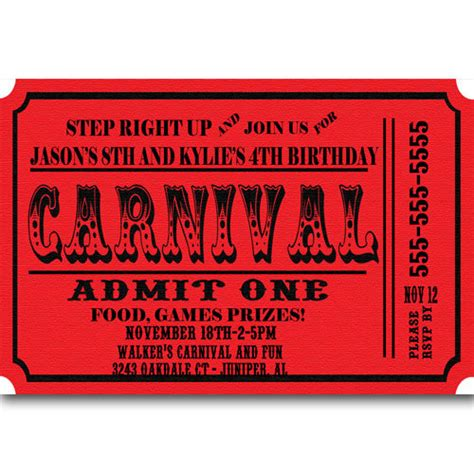 carnival ticket template carnival ticket birthday invitations announcement