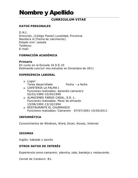 Modelo Curriculum Camarero Modelo De Cv A Completar