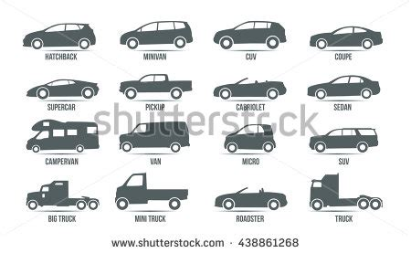 Car Types Icons by Car Model Type Objects Icons Automobile Stock Vector