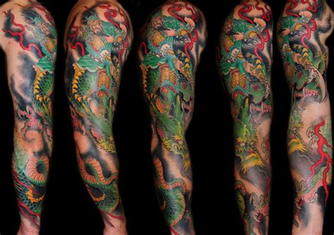 colorful sleeve tattoos color samurai on sleeve