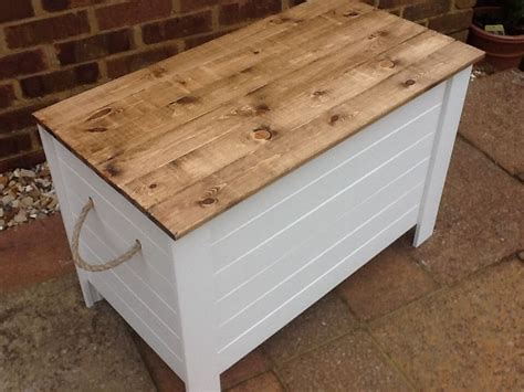 new unused shabby chic rustic wooden solid pine toy blanket shoe box chest pine shabby and