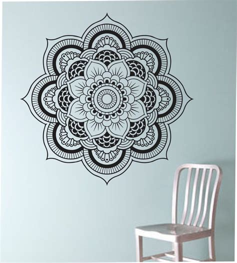tattoo flower mural mandala wall decal flower namaste vinyl sticker art decor