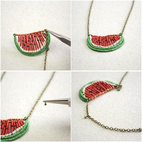 you to see seed bead watermelon necklace by jersica
