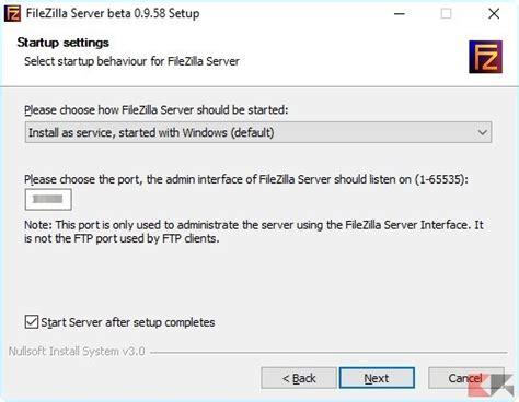 porta filezilla guida ftp creare e gestire un server file locale su windows