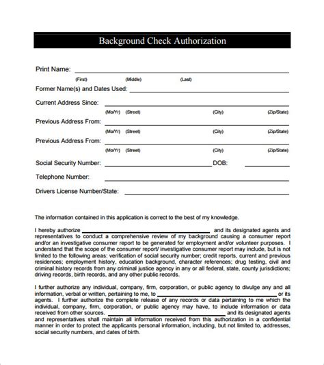 8 Sle Background Check Forms To Download Sle Templates Criminal Background Check Form Template