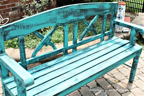 outdoor bench colors dreamingincolor turquoise bench