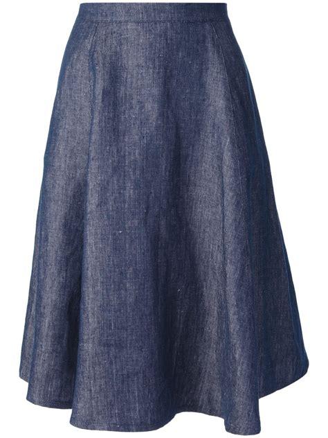 societe anonyme flared denim skirt in blue lyst