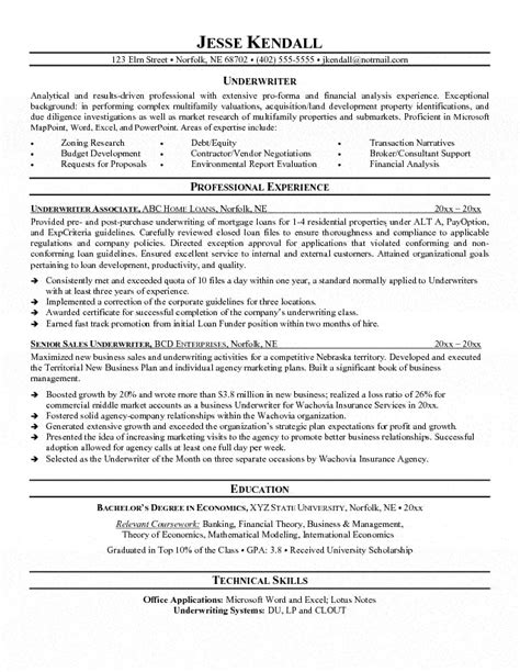 Underwriting Manager Sle Resume by Resume For Insurance Underwriter 28 Images Resume Exle Insurance Underwriter Resume Sle