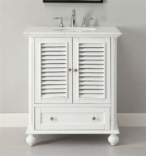 White Cottage Bathroom Vanity with Adelina 30 Inch Cottage White Finish Bathroom Vanity White Marble Counter Top