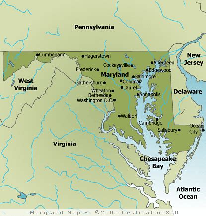 maryland map beaches delaware maryland towns information city