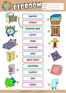 bedroom esl matching exercise worksheet for kids cool things your wall style ideas