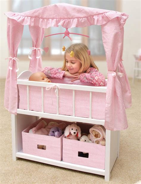 Kids Baby Doll Crib Canopy Baskets Bedding Mobile Bed Baby Dolls Cribs