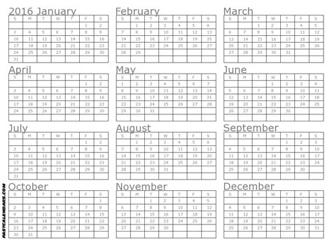 Whole Year Calendar Template whole year 2016 calendar calendar template 2016