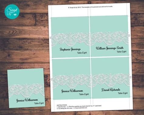 yourself card template wedding guest name place cards template instant