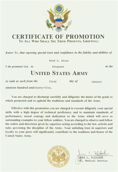 army officer promotion certificate pictures to pin on