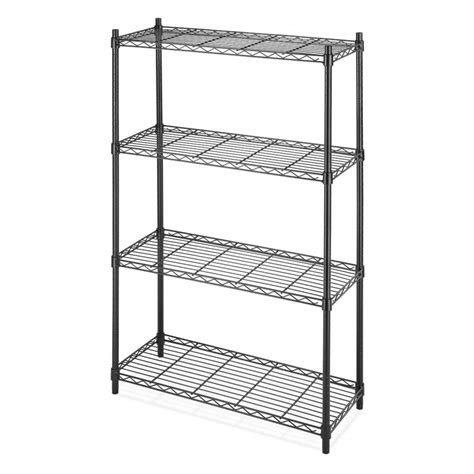 4 shelf black metal wire shelving unit bag baggage
