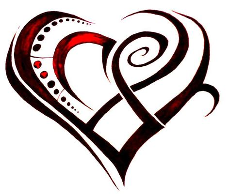 pink heart tattoo designs cool and black ink tribal design