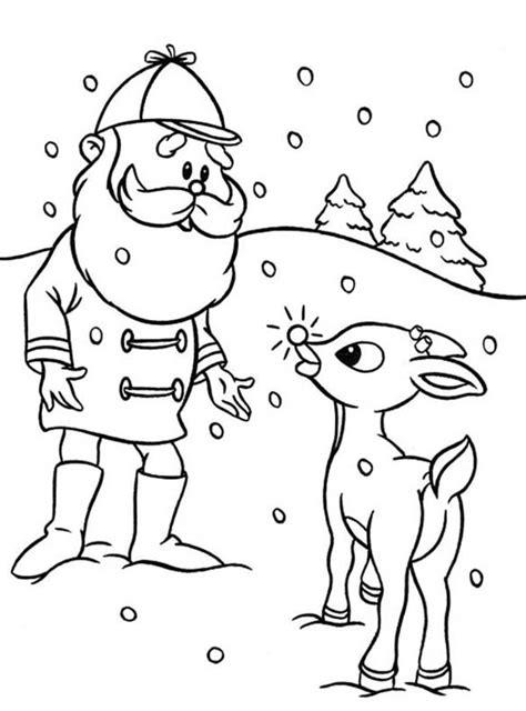 Rudolph Reindeer Coloring Page Santa   Coloring Home