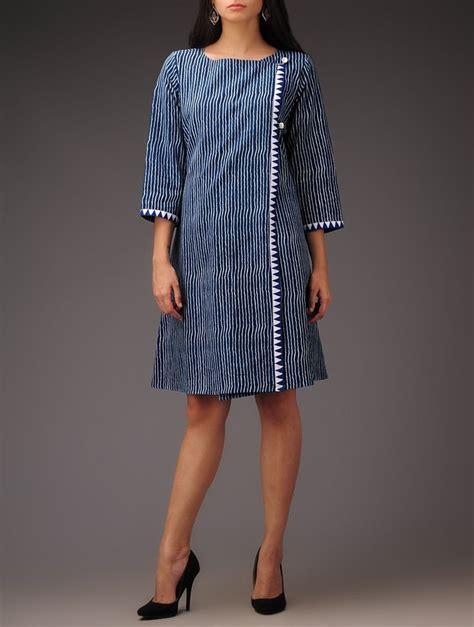 vertical design clothes buy indigo stripe angrakha boat neck block printed khadi