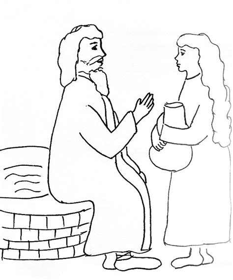 at the well coloring page bible story coloring page for jesus and the at the