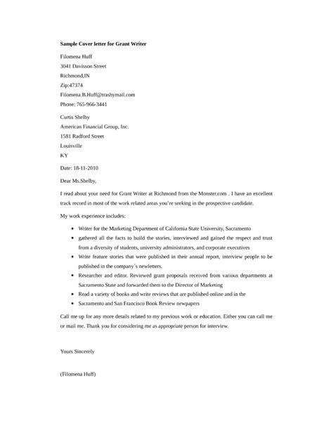 Cover Letter For A Grant Writer Position basic grant writer cover letter sles and templates