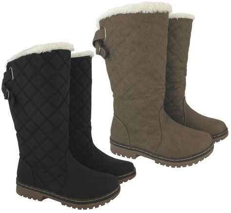 womens warm boots new winter womens quilted grip sole mid calf fur
