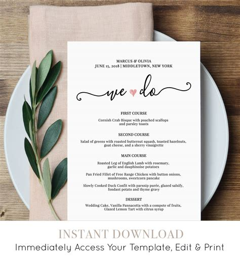 wedding menu card template uk wedding menu card template we do printable dinner menu
