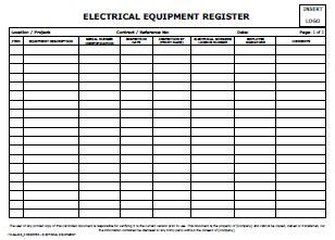register electrical equipment allsafety management