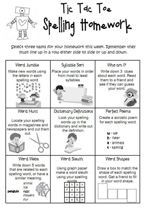 tic tac toe spelling homework is a fun way for students to