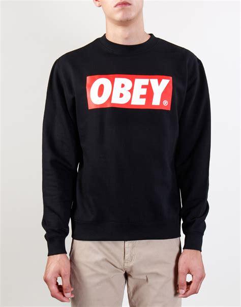 Sweater Obey Obey The Box Crew Black Sweater The Box Crew Black
