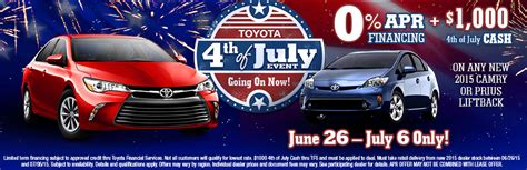 4th Of July Toyota Deals 2015 Toyota 4th Of July Sales Event Lima Oh