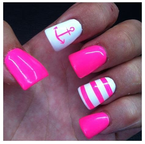 summer acrylic nail designs with anchor anchor nail white hot pink nails quot fashion gifts foods