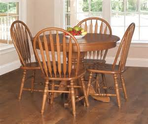 amish country pedestal dining table set chair traditional