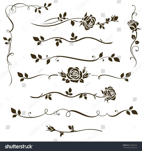 vector wedding design elements and calligraphic page decoration vector set decorative calligraphic elements floral stock