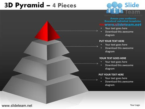 3d Pyramid Stacked Shapes Chart 4 Pieces Powerpoint Ppt 3d Pyramid Powerpoint
