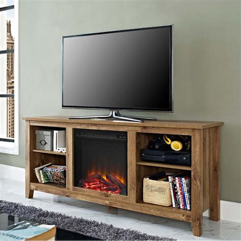 tv stands with fireplace insert walker edison barnwood 60 inch tv stand with fireplace insert w58fp18bw