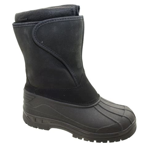 mens black mucker velcro snow boots winter wellington boot