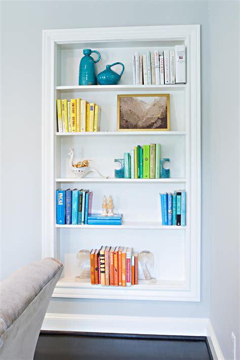 color coordinated bookshelf photo page hgtv