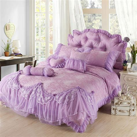 purple ruffle bedding luxury purple jacquard silk princess bedding set 4pc silk