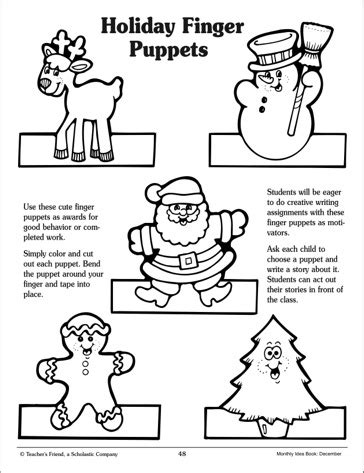 Printable Christmas Paper Finger Puppets | 6 best images of christmas finger puppets printables