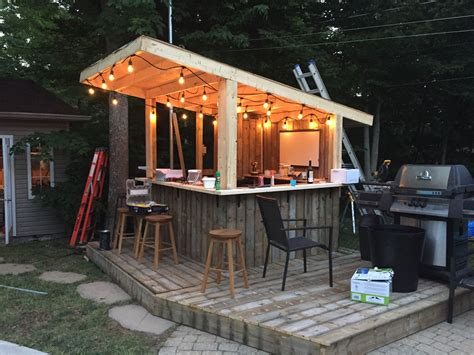 build a backyard bar tiki bar backyard pool bar built with old patio wood
