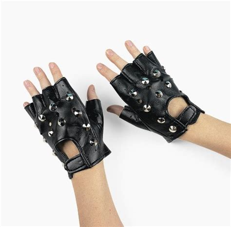 Minogue Rocks The Leather And Fingerless Gloves Look On Stage by Nava Black Rock Studded