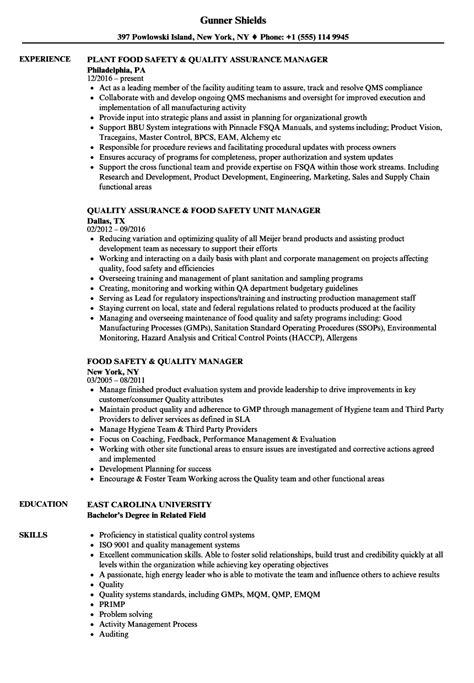 Quality Manager Resume by Quality Manager Resume Sle Production Manager