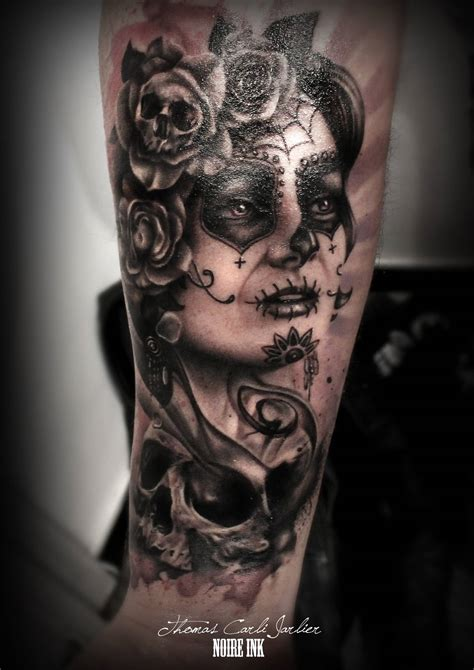 catrinas tattoo superb grey catrina skull on thigh
