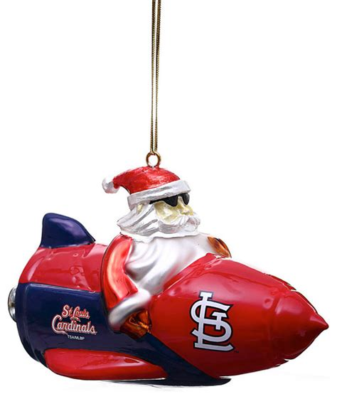 st louis cardinals glass rocket santa christmas ornament